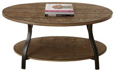 Steve Silver Denise Oval Cocktail Table in Light Oak traditional-coffee-tables