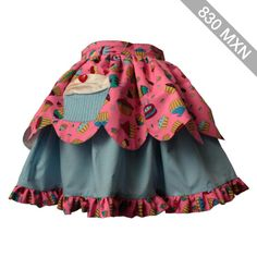 Sweet Lolita skirt. Beautiful candy pink cupcake scalloped layer skirt. One only