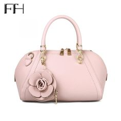 7308f1855404 Delicate Stylish Leather Big Tote With Flower pendant for women sexy Lady  luxury shoulder handbags Female