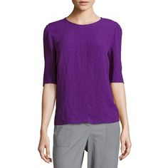 Sandro Solid Textured Blouse ($125) ❤ liked on Polyvore featuring tops, blouses, purple blouse, jewel neck top, sandro blouse, elbow length tops and elbow sleeve tops