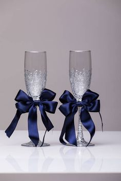Wedding glasses NAVY SILVER Personalized glasses NAVY silver