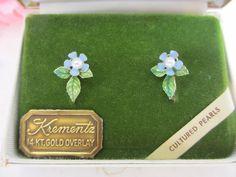 KREMENTZ 14KT GOLD OVERLAY ENAMEL CULTURED PE ARL SCREW-BACK EARRINGS #Krementz