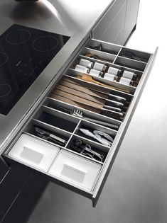 Organize flatware and utensils while making the most of your drawer space with our Cutlery Tray Drawer Organizer. Choose the configuration that fits your space. It's a space-efficient organizer that keeps kitchen drawers orderly and favorite tools easily Kitchen Drawer Organization, Kitchen Drawers, Kitchen Pantry, Kitchen Storage, Interior Design Images, Interior Design Kitchen, Black Kitchens, Home Kitchens, Bulthaup Kitchen
