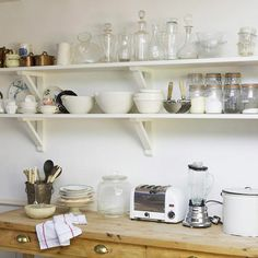 kitchen shelves, IKEA wood brackets