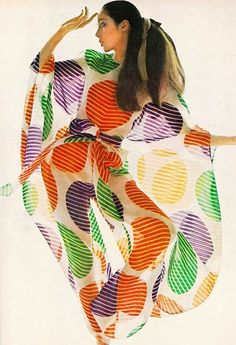 Moyra Swan is wearing a transparent nightwear caftan by Pierre Cardin, 1969