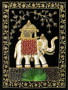 embroidered indian elephant wall hanging