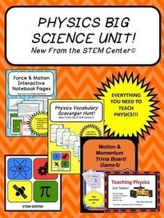 PhysicsPHYSICS BIG UNIT SCIENCE BUNDLE IS ALL YOU NEED TO TEACH PHYSICS!- x 6 Force & Motion Differentiation Stations- Force & Motion Interactive Notebook- Physics Trivia Board- Physics TIC TAC TRIVIA- Word Wall- Physics Exit Tickets- In Addition to the m