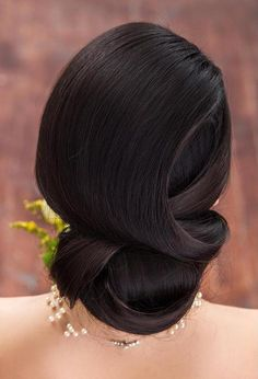 sleek formal wedding updo for long hair