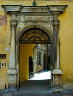 Old world courtyard entry