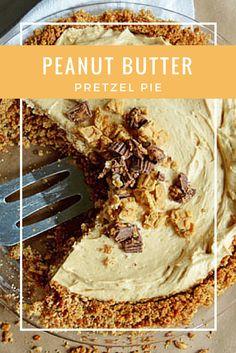 Peanut Butter Pretzel Pie - Salty pretzel & graham cracker crust, decadent peanut butter mousse filling, and peanut butter cup and Nutter Butter topping. So easy and ridiculously delicious! | www.thehungrytravelerblog.com