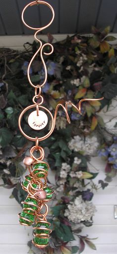 Wind Chimes - Stamped Copper & Glass - Garden Sculpture / Gypsy Window Art Suncatcher Green