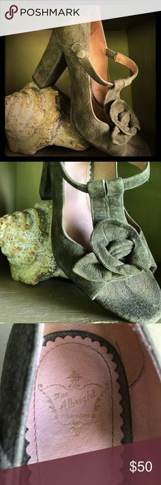 Miss Albright stacked heel with rosette detail. Gorgeous mossy green suede leather stacked heel, with vintage rosette detail. Purchased at Anthropologie for $150. Selling for $50. Miss Albright Shoes Heels