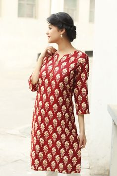 #prints #kurta #red #dressy #Fabindia