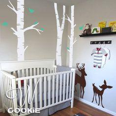 Deer, Fawn, Birds, and Birch Tree Nursery Decal