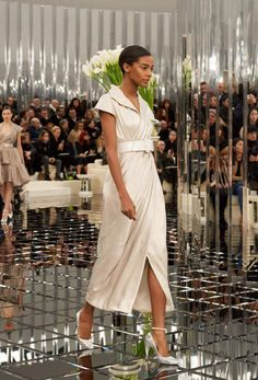 Chanel Spring 2017 Couture - midi dress + belt + metallic pumps + anklet!