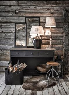 BRABBU is a design brand that reflects an intense way of living, bringing fierceness, strength and power into an urban lifestyle Cozy Cabin, Cozy House, Montana Homes, Rustic Vanity, Cottage Interiors, Cabin Homes, Rustic Decor, Sweet Home, House Design