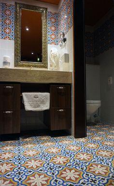 aisha cement tiles in a classic colour combination at Shiraz Hotel Home Studio, Hostel, Cement Tiles, Mirror, Architecture, Bathrooms, Colour, Furniture, Boho