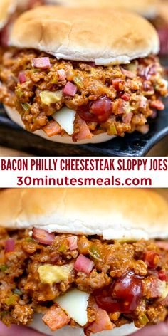 Philly Cheesesteak Sloppy Joes are made with ground beef, tender bell pepper, onions, and gooey melted cheese! #sloppyjoes #beefrecipes #easydinner #30minutemeals #phillycheesesteak Top Recipes, Lunch Recipes, Easy Dinner Recipes, Beef Recipes, Breakfast Recipes, Sandwich Recipes, Delicious Recipes, Easy Recipes, Recipies