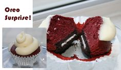 Try Red Velvet Cupcakes with an suprise oreo Base.  Place oreo at bottom and bake your red velvets on top!