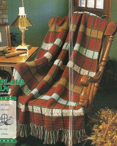 Spice Plaid Afghan Vintage Crochet Pattern 49 x 55 Masculine Blanket Throw Home Decor P-209 by PatternMania3 on Etsy
