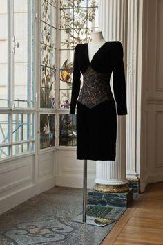 Robe portefeuille manches longues en su dine vert kaki for 207 haute antiques