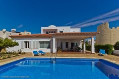 From your covered pool-terrace looking at the sea...