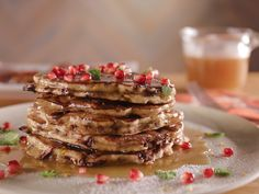 Chocolate Chip-Pistachio Pancakes with Salted Honey Caramel Syrup recipe from Bobby Flay via Food Network