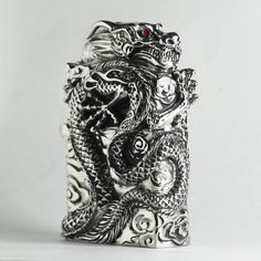 Zippo Lighter Dragon Silver Brass Handmade best Buy from Japan New