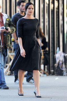 "Abbie Cornish Singer Madonna and actress Abbie Cornish are seen on the set of ""W.E."" in Brooklyn-very cute dress"