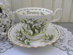 The Pink Rose Cottage - Vintage Royal Albert Flower of the Month January Snowdrops