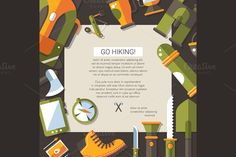 Flat Design Camping & Hiking Card by Decorwith.me Shop on Creative Market