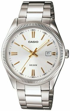 Casio Men's Stainless Steel Watches Casio. $35.00. ase Size: 38mm Diameter, 8mm Thickness. Mineral Crystal, 3-Hand Analog, Date Display. Stainless Steel Case and Band, Fold Over Deployment Clasp. Precise Japan Quartz Movement - Accuracy: +/-20 seconds per month. Water Resistant - 50M