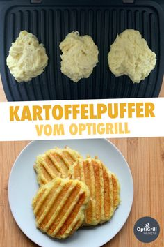 Kartoffelpuffer im OptiGrill zubereiten - so geht's!Potato pancakes - a real classic of German cuisine! Delicious grated cakes can be prepared very well in the OptiGrill - and you only need 5 ingredients. Prepare the puff pastry from potatoes, Salmon Recipes, Potato Recipes, Lunch Recipes, Vegetarian Recipes, Healthy Appetizers, Appetizer Recipes, Benefits Of Potatoes, Potato Pancakes, Cooking On The Grill