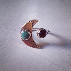 Turquoise Crescent And Onyx Ring by honeyandgoldies on Etsy, $90.00