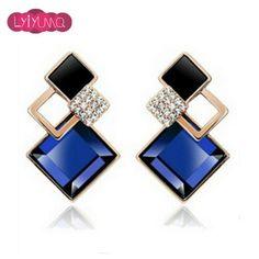 Big Blue Crystal Square Stud Earrings