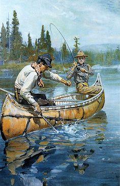 Philip R Goodwin Men Fishing in Canoe Rustic Brown Framed Canvas Art s 18x25   eBay