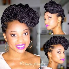 Surprising Kinky Twists With Cornrows On Both Sides Natural Hair My Work Hairstyles For Women Draintrainus