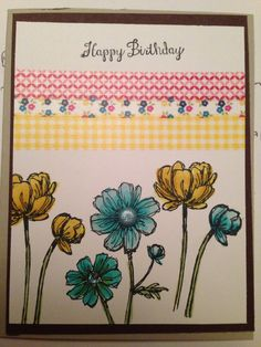 """""""Bloom with Hope"""" stamp set.    Coastal Cabana & Daffodil Delight blendabilities markers and Washi Tape.   All on neutrals cardstock, from Stampin Up"""