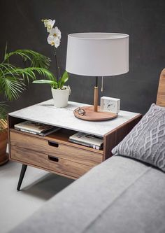 Nightstand Bedside table with two drawers in solid Walnut / Oak wood board and on top Carrara marble Custom Furniture, Wood Furniture, Bedroom Furniture, Furniture Design, Bedroom Decor, Marble Nightstand, Floating Nightstand, Night Table, Carrara Marble