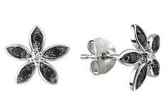 1/6 CARAT BLACK AND WHITE DIAMOND 10K WHITE GOLD EARRINGS    $150.00