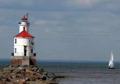 Sailing past Wisconsin Point Lighthouse in Superior, WI.
