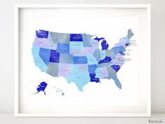 20x16 Printable Usa Map With States And Names Distressed Vintage Texture Travel Art Nursery