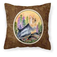 Carolines Treasures Silky Terrier Canvas Fabric Square Decorative Outdoor Pillow - SS8262PW1414