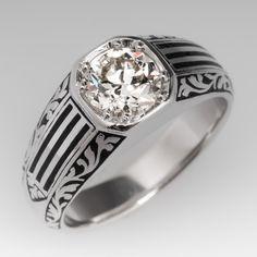 Vintage Mens Old Euro Diamond & Black Enamel Ring