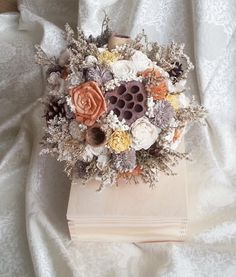 Autumn rustic wedding BOUQUET made of sola flowers, dried lotos, pine cones, dried sorghum, dried limonium and burlap. Handle decorated with cotton lace and pearl pins. Will make a great set with patinated rings box and rustic boutonnieres and corsages which I can also make. READY TO SHIP - youll receive exactly the one from photos  Dimensions: length approx. 29cm (11,5), handle 14,5cm(5 2/3)  diameter approx. 23cm (9 1/16)   ~~~~~~~~~~~~~~~~~~~~~~~~~~~~~~~~~~~~~~ SAME STYLE…