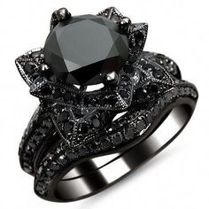Black Gold Jewelry For Beautiful Pieces Black Round Diamond Lotus Flower Engagement Ring Set Black Gold / Front Jewelers Lotus Flower Engagement Ring, Round Diamond Engagement Rings, Engagement Ring Settings, Gothic Engagement Ring, Black Engagement Rings, Black Wedding Rings, Black Rings, Gothic Wedding Rings, Black Diamond Rings