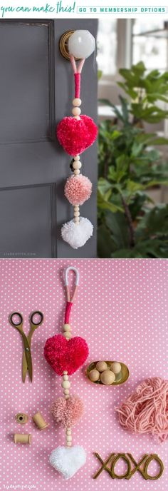 Learn how to create easy DIY pom pom heart decor