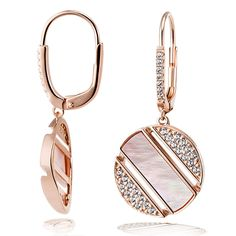 goldmaid pair of earrings 925 / - silver 58 cubic zirconia 2 mother of pearl Rose Gold Jewelry, Diamond Jewelry, Women Jewelry, Fashion Jewelry, Women's Fashion, Elephant Earrings, Hanging Earrings, Ceramic Jewelry, Schmuck Design