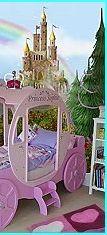 girls theme bed - princess coach cinderella style princess bedroom accessories