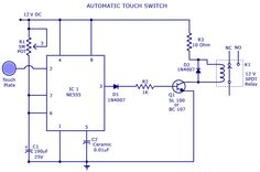 ‪#‎TouchSwitch‬ circuit is a type of switch that only has to be touched by an object to operate,It is used in many lamps and wall switches.
